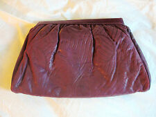VINTAGE MARGOLIM*PURPLE PLUM EMOSSED LEAF PRINT LEATHER XL CLUTCH BAG PURSE