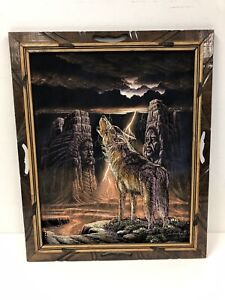 Vintage BLACK VELVET PAINTING Wolf art picture native american Ernesto Sanchez
