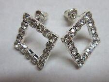 Earrings Rhinestone Cluster Diamond Square Shape Hypoallergenic Post NWT BVG 181