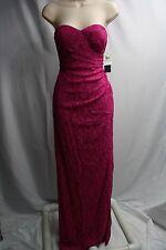 NWT Fuchsia Lace Strapless Full Length Semi-Formal Dress Gown Sz 2 Prom by AQUA