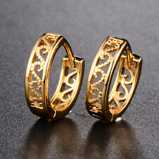 Lovely Womens 18K Gold Plated Hollow Round Hoop Stud Earrings Party