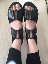 Country road Black Leather  Industrial Flats Sandals Grecian Shoes 35 6 5.5