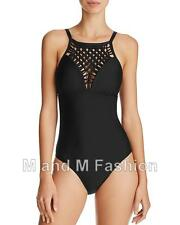 Athena Black Crochet Inset One Piece Slimming Swimsuit M  NWT  NEW