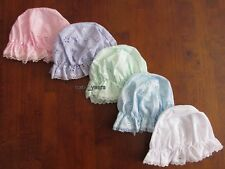 BABY GIRLS BRODERIE ANGLAISE MOP HAT WHITE PINK BLUE MINT BEACH SUN HAT NEWBORN