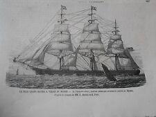 Gravure 1874 - Le plus grand Navire à Voile du Monde Le Three-Brothers