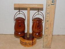 Vintage Cedar Wood Top Cap Watkins Glen NY Salt and Pepper Shakers