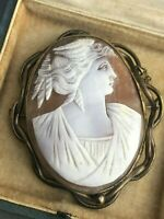 Antique Cameo Brooch Pinchbeck Frame Carved Shell Pin Deity Victorian Jewellery