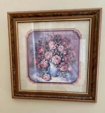 "Home Interior Decorator retired Rose Floral wood frame picture 18""x18"" Roses"
