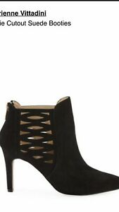 Adrienne Vittadini Nelie Cutout Suede Booties, Black, Size 10M NEW IN BOX