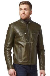 Men's Leather Jacket OLIVE GREEN Washed Biker Style 100% REAL NAPA LEATHER SR-02