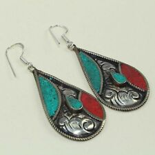 New Arrival Unique Turquoise & Red Coral Tibetan Earring NE-7185