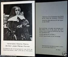 ANTIGUA ESTAMPA RELIGIOSA MADRE PETRA DE SAN JOSE PEREZ FLORIDO  HOLY CARD CC153
