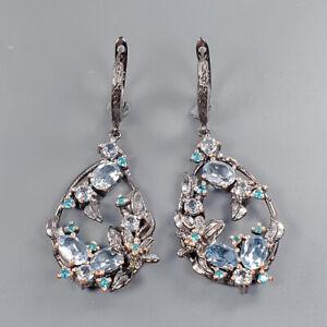 Design jewelry Blue Topaz Earrings Silver 925 Sterling   /E54672
