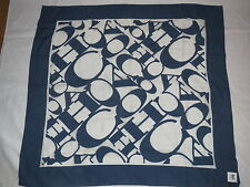 "COACH 44"" WORKMARK SIGNATURE ""C"" NAVY SILK / COTTON SCARF 97624 MSRP $138.00 NWT"