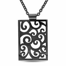 Amour Stainless Steel Black Rhodium Pendant Necklace 18 - 20""