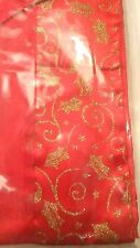 RED Gold Glitter Festive Fabric Table Runner Christmas Holiday Xmas Party Dine
