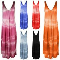 New Womens Italian Tiedye Print V Neck Back Lagenlook Boho Long Maxi Vest Dress