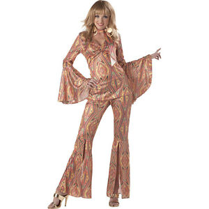 70's DiscoLicious Disco Women Groovy Adult Costume Blouse Scarf n Pants Outfit S