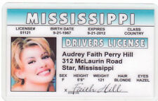 Faith Hill novelty collectors card Drivers License