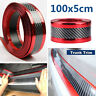 1.0 M Car Door Sill Scuff Plate Guard Pedal Protector Strips Carbon Fiber Red