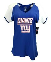 New York Giants NFL Majestic Women's Logo V-Neck T-Shirt, Blue, nwt