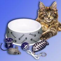 Set Katzen Napf + 4x Spielzeug m. Glöckchen u Katzenminze, Futternapf Wassernapf
