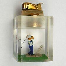 Evans Golf Lighter Lucite Golfer Missing Swing Whiff Clearfloat Table Lighter