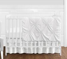 Sweet Jojo Solid Color White Harper Shabby Chic Baby Girl 4pc Crib Bedding Set
