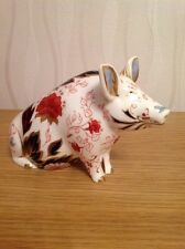 ROYAL CROWN DERBY 'Pig Money Box' Excellent First Quality. Gold Stopper, c2004