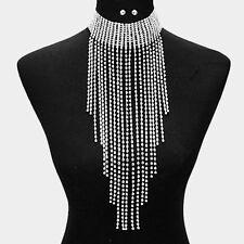 Crystal Rhinestone Choker Fringe Bib Necklace Silver Tone Jewelry Set
