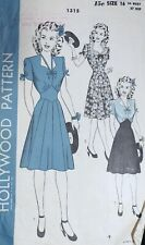 Vtg 1940s Hollywood 1315 Sweetheart Bow Trim Midriff Dress Sewing Pattern 16