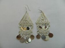 """Egyptian Metal Silver Plated Triangle Coin Earrings 3"""""""