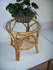 Rattan Table NEW Colour Honey with Glass Plate