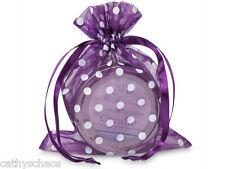 """10 Purple Punch Polka Dots Organza Gift Bags 5x6.5"""" Candles Christmas Holiday"""