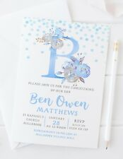 10 PERSONALISED BOYS CHRISTENING INVITATIONS - BLUE WATERCOLOUR INITIAL