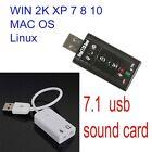 USB AUDIO SOUND CARD ADAPTER CABLE 3D VIRTUAL 7.1CH windows xp-10 linux Mac Os
