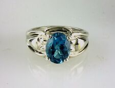 Genuine London Blue Topaz Oval Solitaire Ring.  925 Sterling Silver