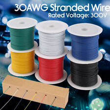 30 AWG Gauge Flexible PVC Electric Wire Copper Hook Up 300V Cable 6 Rolls