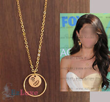 Chain length Option PERSONALIZED ENGRAVED Karma Initial Necklace ring disc leaf