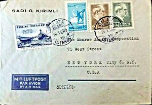1946 Turkey USA  Kırımlı-Monroe  Cover sent from İstanbul  to New York