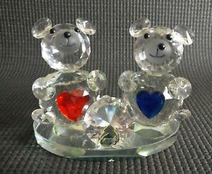 "Vintage Crystal 2 Teddy Bear 3"" Figurines Red & Blue Love Heart 💓 Bears BOXED"