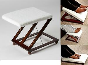 NEW ADJUSTABLE FOOTREST  STOOL COMFORTABLE HEIGHT & ANGLE LEG REST RELAX WOODEN