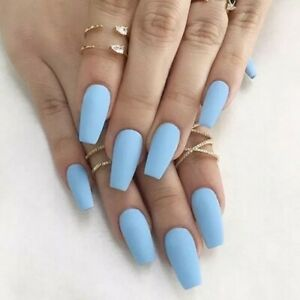Matte Blue long medium coffin ballerina Fake False Press On Nails