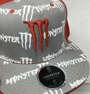 Monster Energy~Size 7.5~Authentic~NWOT~Men's Hat~Trucker~Embroidered~Red~Gray~