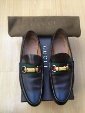 GUCCI MENS SHOES BROWN LEATHER BAMBOO HORSEBIT LEATHER LOAFERS UK 7.5 41.5