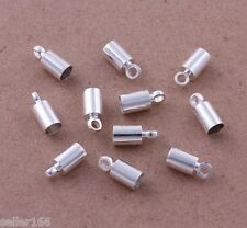 100 pcs 4x9mm Silver Plated Barrel Bead Leather Cord ends caps Jewelry findings