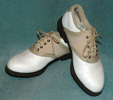 WOMEN'S FOOTJOY BEIGE AND WHITE GOLF SHOES -  SIZE 6.5 M