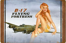 B-17 Flying Fortress Redhead PinUp rusted metal sign     (pst 1812)