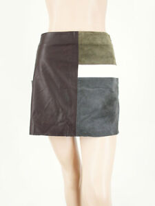 Theory Mini Skirt Colorblock Patchwork Leather Suede Combo 4 8920 -FLAWS
