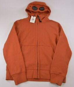 C.P. Company NWT Full Zip Hoodie Sweat Shirt Size L In Orange With Goggles